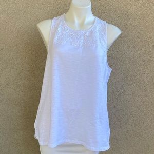 White Cotton Sleeveless Embroidered Crochet Top